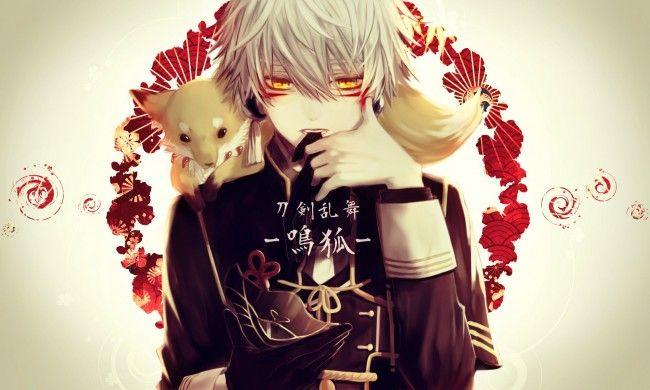 Nakigitsune Touken Ranbu White Hair Fox Touken Ranbu Touken Ranbu Nakigitsune Anime Fantasy