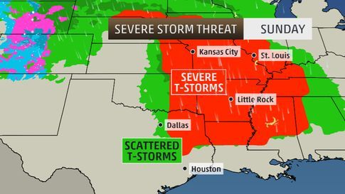 Sunday, April 27  Severe thunderstorm and tornado outbreak predicted. Check updates.  Maximum TOR:CON: 6 to 7 in parts of Arkansas, northern Louisiana, western Missouri and northwest Mississippi. Cities: Tulsa, Okla. | Kansas City, Mo. | Fort Smith, Ark. | Little Rock, Ark. | Shreveport, La. -- visit weather channel for updates:)