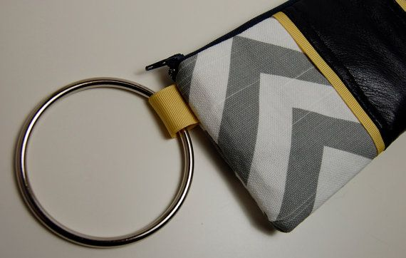 Shoply.com -Gray and white chevron stripe with navy blue leather BANGLE Wristlet. Only $44.00