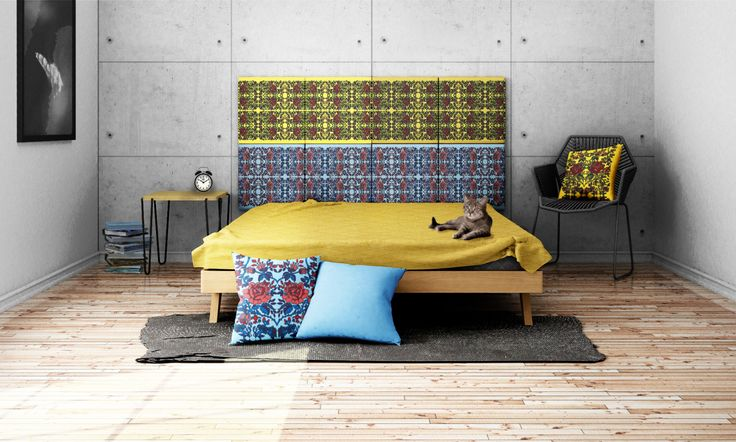 Headboard - upholstered modular wall panels PATTERN No. 1008 Roses by DesignPolski on Etsy