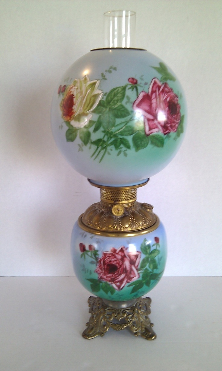 Antique Vtg Gone With The Wind Lamp Parlor Victorian Kerosene Oil Hand  Painted