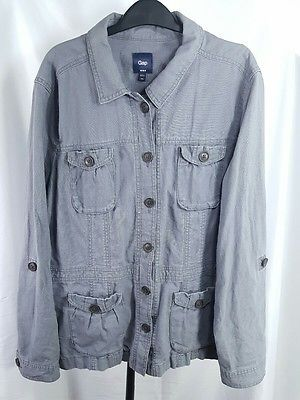 Gap Women's Utility Jacket Button Up Linen Blend Lightweight 4 Pockets Gray XXL