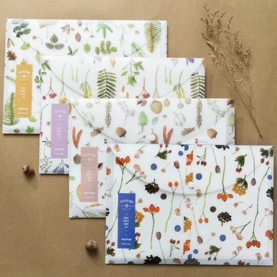 """Nature Whisper"" Pack of 4 Document File Folder One Layer A4 Size Plastic Bag #UnbrandedGeneric"