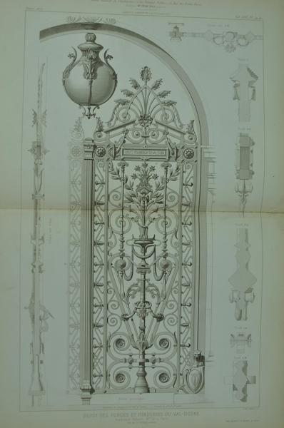 1873 Lg Architecture Antique Print Ornate Arch Door Gate Ironwork Design