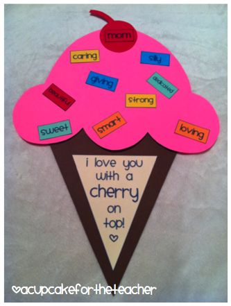 mothers day craft :): Gift, Mothersday, Mothers Day Ideas, Teacher, Mother'S Day, Cherries, Mothers Day Crafts, Mothers Day Cards, Ice Cream Cones