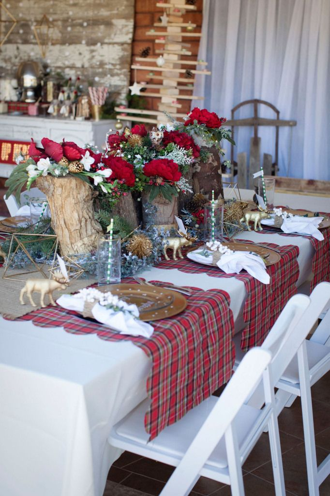 Stunning Christmas table - Love the stump and rose centerpieces, the gold polka dot plates and the plaid scalloped table runner - www.classyclutter.net