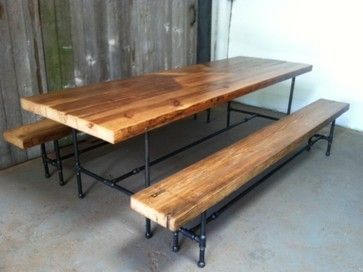 Picnic Bench Dining Table Style Tables Plumbing Pipes And Wood Pieces Made Into