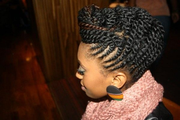 Cornrow updo with two-strand twists.-now that I have learned how to do the two strand twists on my hair without looking HAM, I need to learn some up do's for the summer