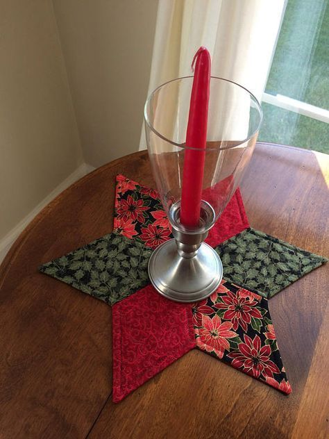 Elegant Poinsettia & Holly Quilted Star Candle Mat Christmas