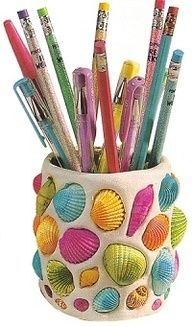 Seashell Craft Ideas, look at the colored shells on this pencil cup, Millie!