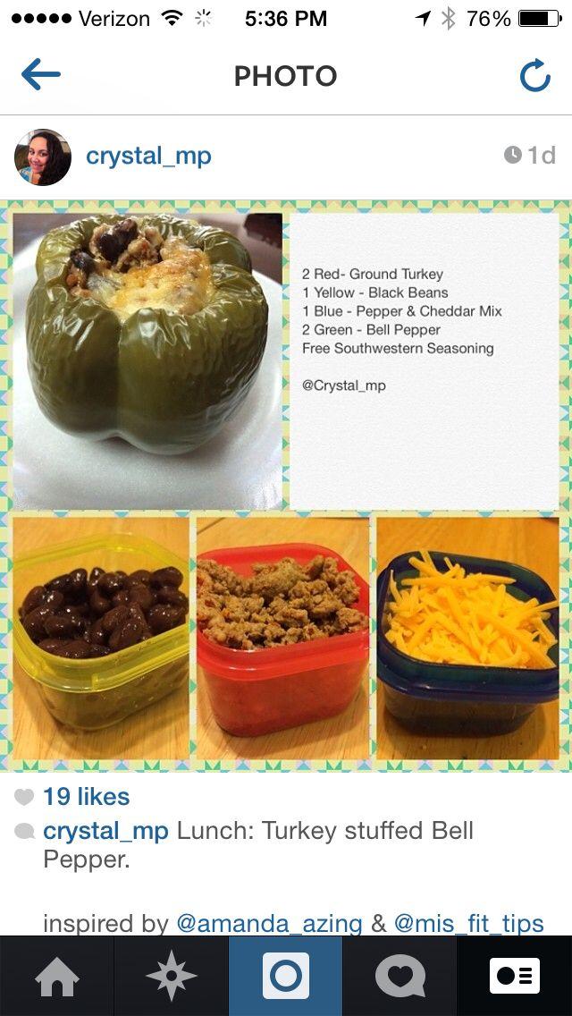 21 Day Fix Meal - Turkey Stuffed Bell Pepper. So yummy  so easy!