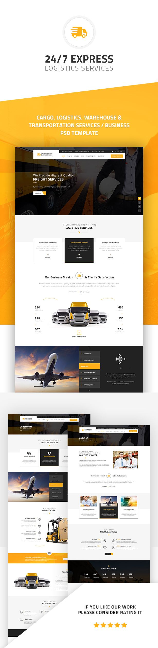 24 7 express cargo services is a multipurpose html suitable for cargo logistics