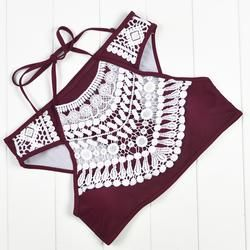 Maroon Crochet High Neck Bikini