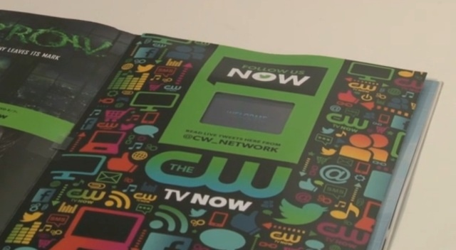 Android smartphone inside Entertainment Weekly's print ad
