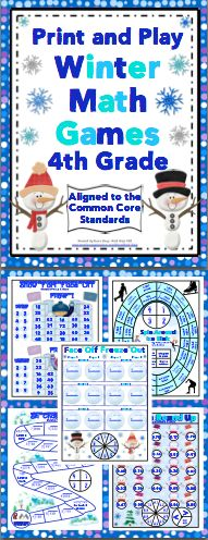 Winter Math: No Prep, Print and Play Games and Centers (4th Grade) - Your students will have a blast while reviewing important math skills! These no prep games are aligned to the Common Core Standards, are 1 page, and lots of fun! Also available for 3rd grade and 5th grade. $