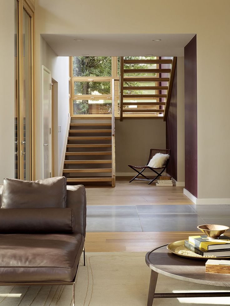 Flexform Chaise, Woven Chair, And Coffee Table In California Living Room.  Floating StaircaseOpen ... Part 80