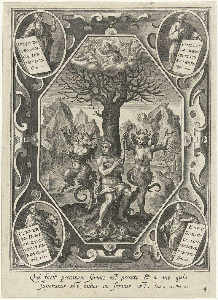 Cornelis Galle (I) | Een jonge man wordt door twee duivels aan een boom geketend, Cornelis Galle (I), Karel van Mallery, c. 1610 - in or after 1635 | Een jonge man, gekleed met een doek, wordt door een mannelijke en een vrouwelijke duivel met een touw aan een boom vastgebonden. Op de achtergrond een rotslandschap. Aan de voeten van de man drie schedels met botten.
