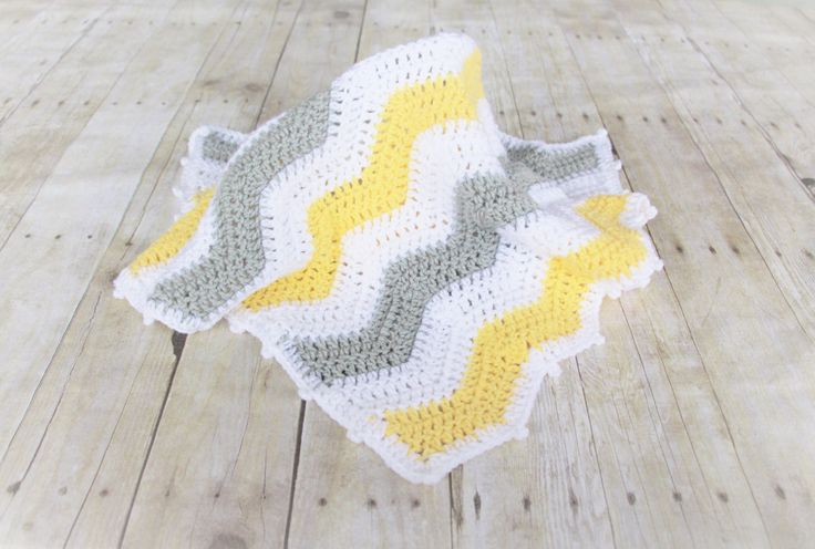 Yellow Grey Chevron Baby Blanket, Chevron Crochet Baby Blanket, Chevron Crochet Blankets, Chevron Bedding, Stroller Blanket, Ready to ship by CraftCreationsbyRose on Etsy