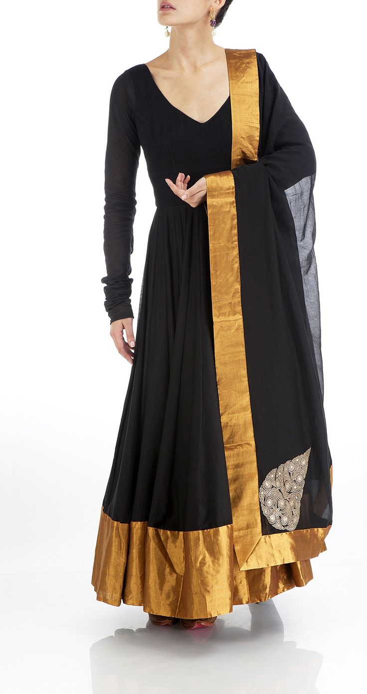 Anamika Khanna - Black silk anarkali with gold border