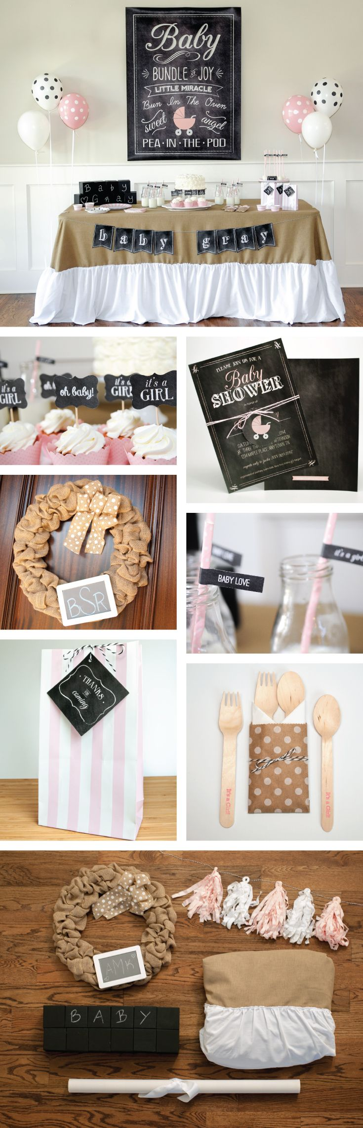 Pink, chalkboard and burlap baby shower theme and decorations | Baby shower party kit and rental items - tableware, linens and decor