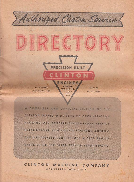 Clinton Machine Company Maquoketa IA 1953 Authorized Service Directory
