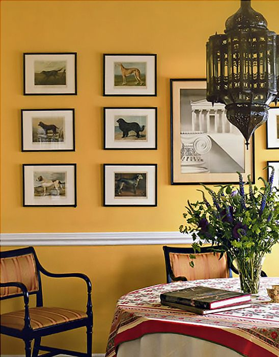 Create a warm and cheerful dining area even when the weather turns chilly, with Farrow & Ball's India Yellow. http://www.solidwoodkitchencabinets.co.uk/cabinets_blog/colours-month-autumnal-shades-solid-oak-kitchen-cabinets/