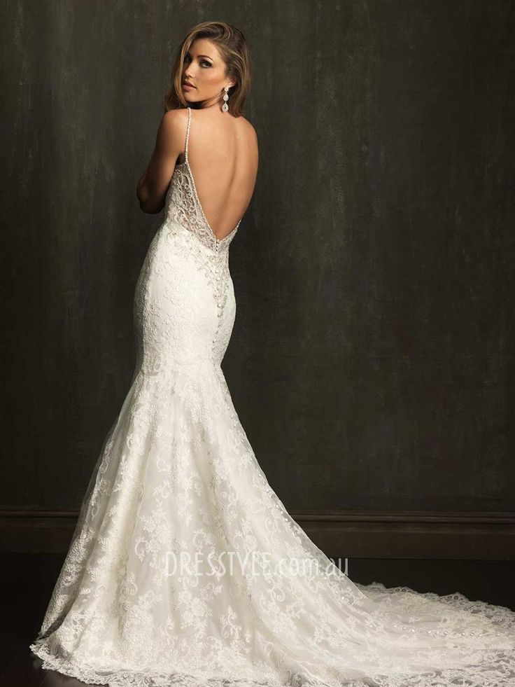 Spectacular Stunning All over Lace Spaghetti Strap Sleeveless Open Back Slim Fitted Wedding Dress AU