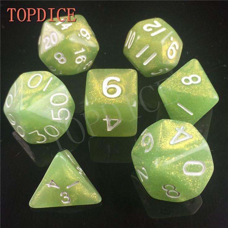 [TOPDICE] kualitas tinggi Multi-Sisi RPG SET Dadu DADU dengan mutiara warna d4 d6 d8 d10 d20 d10 d12 7 pcs/set d & d