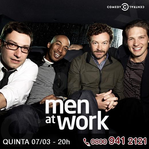"""""""Men at Work"""" estreia hoje no Comedy Central e traz a desventuras de 4 amigos que trabalham juntos em uma revista. Um dos rapazes terminou o namoro e agora com a ajuda dos amigos eles tentam encontrar uma nova namorada para ele.   http://www.clarotv.br.com/"""