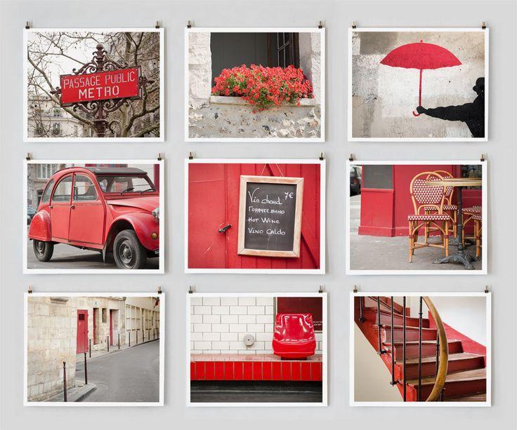 Save 20%, Paris Photography Collection, Red - French Fine Art Photograph Art Prints, Paris Decor, Large Wall Art, Red Home Decor. $145.00, via Etsy.