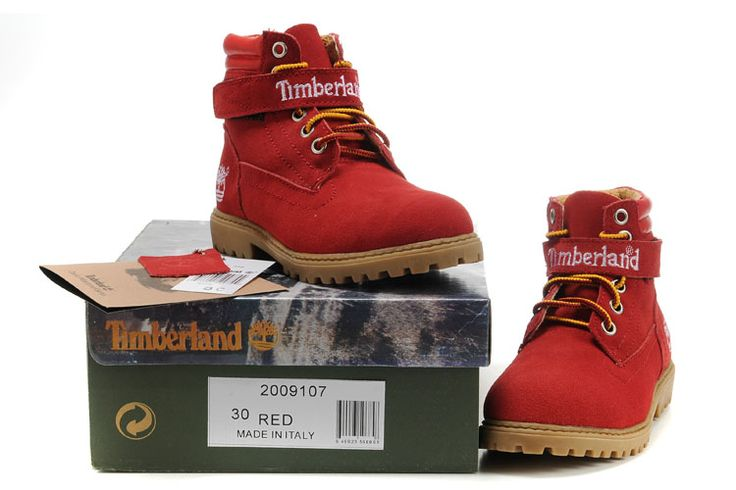 Fashion Winter Timberland Kids 6 Inch Shoes Red White