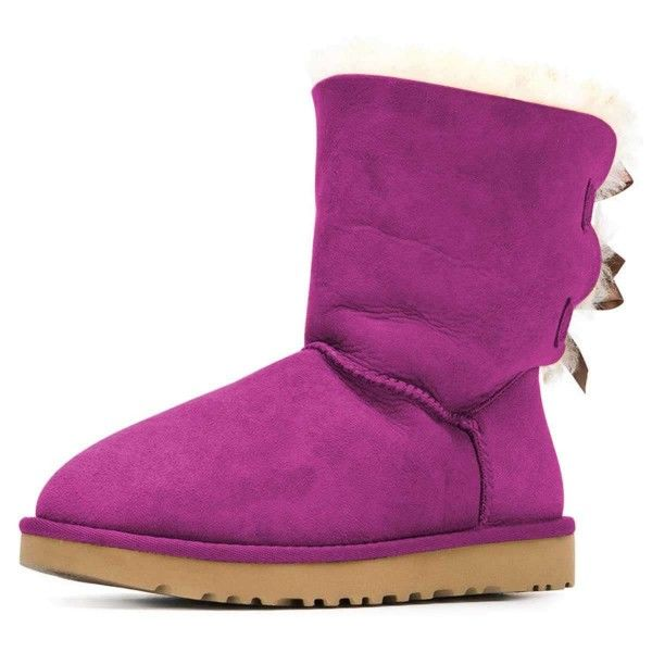 Purple Suede Flat Winter Boots with Bow for Date, Going out