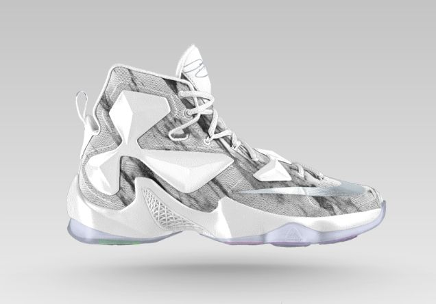The Nike LeBron 13 iD is given a new marble option as well as other mineralized finishes. Create your own now at NIKEiD for $230.