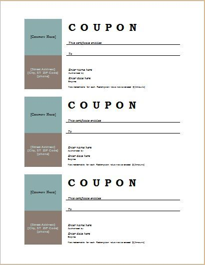 Make Coupons In Word  Microsoft Office Coupon Template