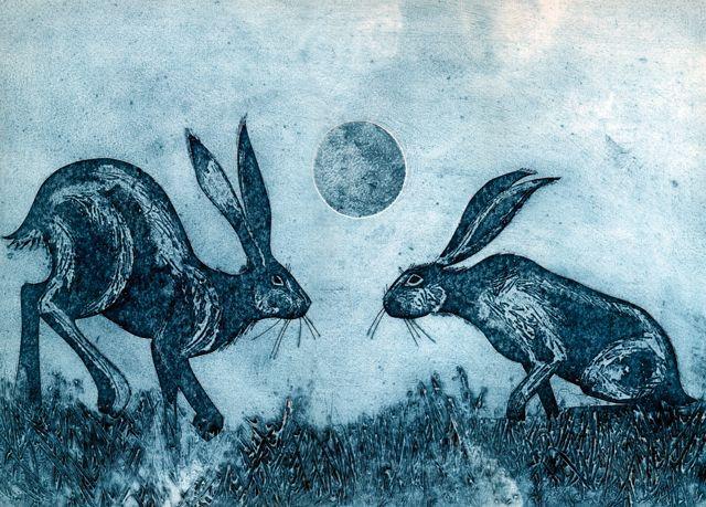 'Moonstruck' By Printmaker Kerry Buck. Blank Art Cards By Green Pebble. www.greenpebble.co.uk