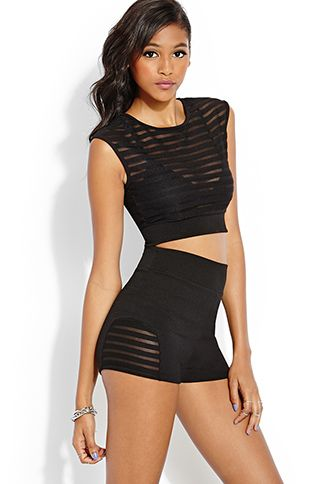 Shadow Striped Crop Top | FOREVER21 - 2000059942