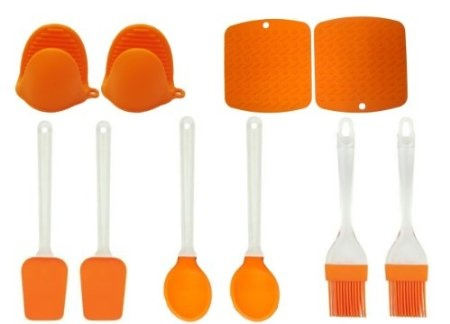 Amazon.com: Silicone Kitchen Utensils Value Pack   (Orange) Set Includes 2  Each; Spoons, Spatulas, Mitts, Pastry Brushes, Trivets   Non Scratch, Heu2026