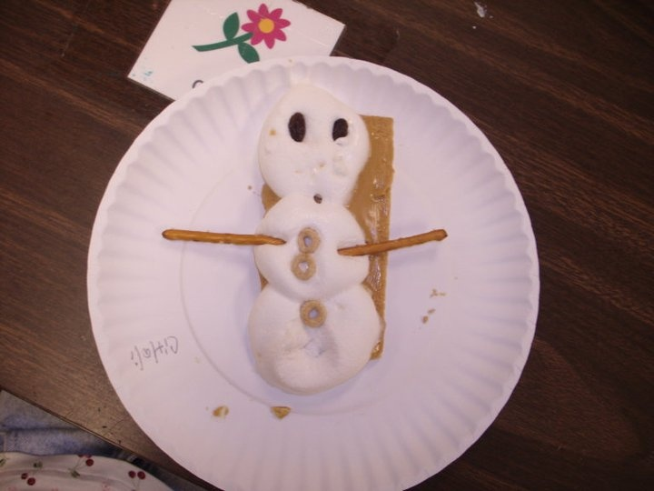 My cooking experience....a graham cracker the kids spread with peanut butter and then top with 3 jumbo marshmallows in the form of a snowman. We microwave for 20-30 seconds, and then decorate however. I chose healthier snacks due to the marshmallows like raisins, cheerios, and pretzels.