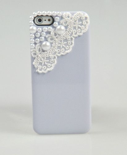 Cover Cute Girl Pearl Lace Hard Case Cover for Apple IPHONE5 5g Light Purple LXL