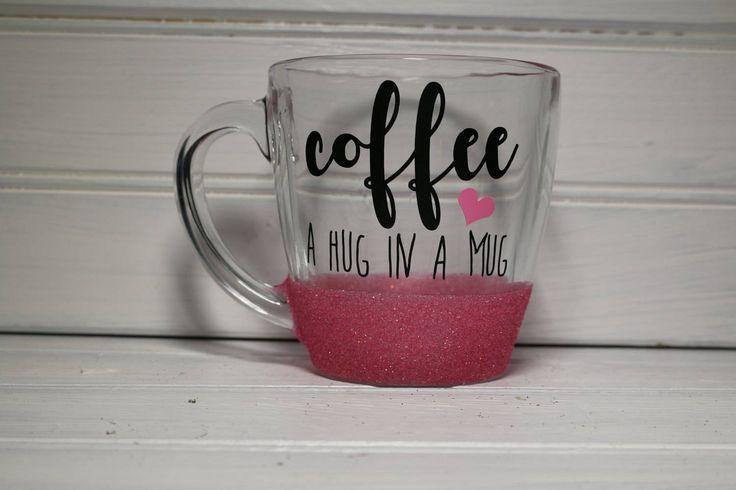 Coffee: A Hug in a Mug Glitter Coffee Mug, Coffee Mug, Clear Coffee Mug, Gift for Coffee Lover by OhMyGlitterDesigns on Etsy