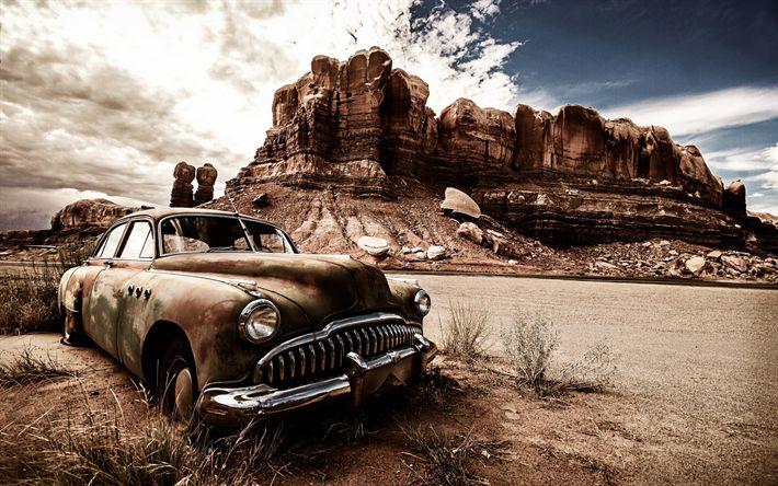Scarica sfondi auto abbandonata, deserto, vecchie auto, fuoristrada, mountauns, USA, America