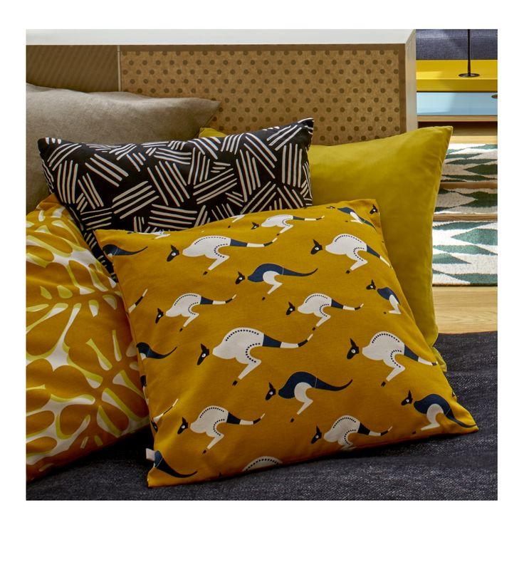Imalu - Coussin 45x45 jaune à motifs - Habitat