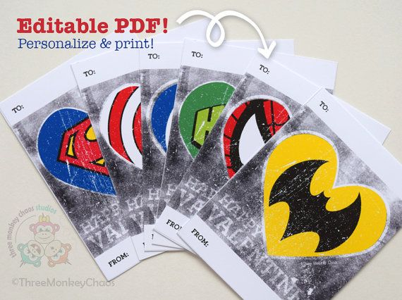 Super Hero Valentines Printable Valentine by ThreeMonkeyChaos