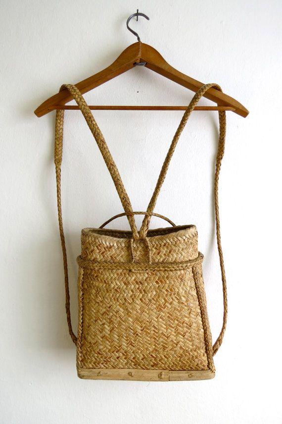 Woven Basket Backpack // Straw Bag // Ethnic by BarnabyJack