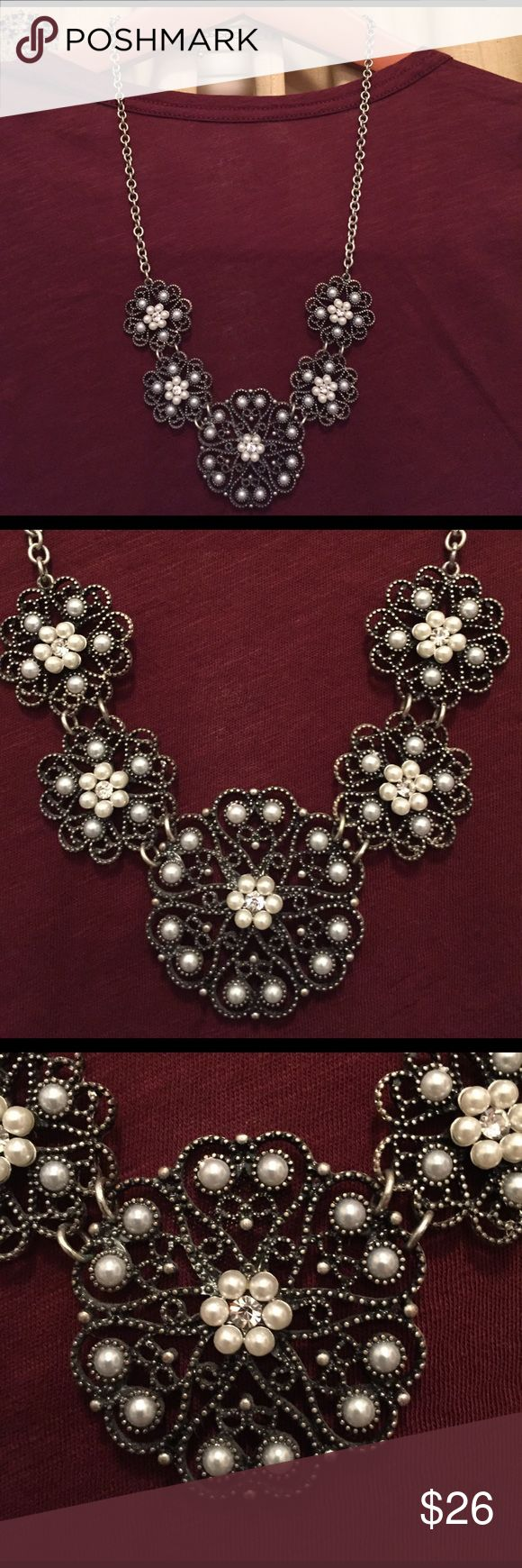 """Susan Graver Necklace Susan Graver Necklace - Silver tone necklace with white/light grey pearls and crystals. It measures 23"""" when laying flat but the necklace curves so measures Approx. 26"""" Excellent condition. Susan Graver Jewelry Necklaces"""