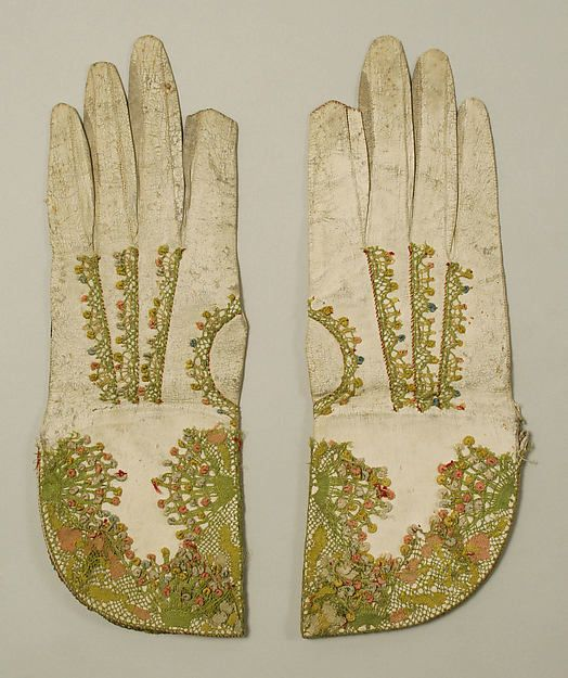 British mitts, leather, 18th century.  From the collections of the Metropolitan Museum of Art.