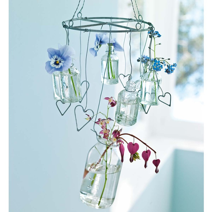 Vase Mobile   Almost With The Look Of A Suncatcher   Clear (or Colored)  Glass, Metal Hearts Made From Wire, The Bleeding Heart Is An Especially  Nice Touch ...