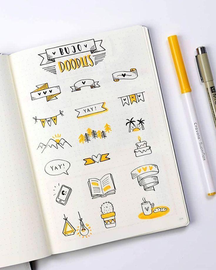 Cute bullet journal doodles by ig@dutch_dots.