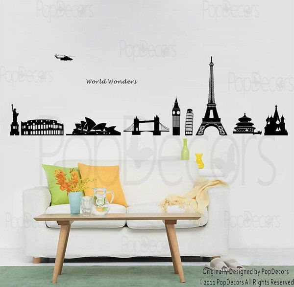 new design world wonders modern wall decals stickers murals home decor by pop decors - Wall Sticker Design Ideas
