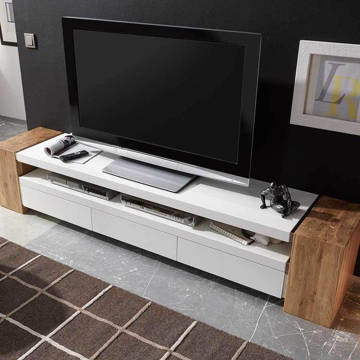 TV Lowboard in Weiß matt mit Eiche Massivholz   Wohnzimmer > TV-HiFi-Möbel > TV-Lowboards   Weiß   Massivholz   TopDesign